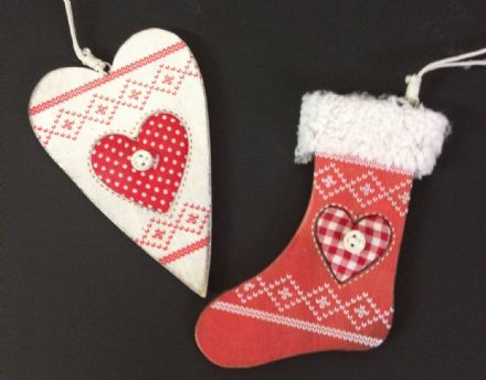 Nordic Wooden Christmas Tree Ornaments - Red Stocking & White Heart